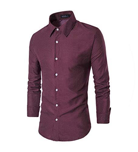 Spring New Men Shirt Dot Print Casual Long Sleeve Shirts Plus Size Business Tops Fashion Gentlemen Clothes M 4XL,Red,XXXL
