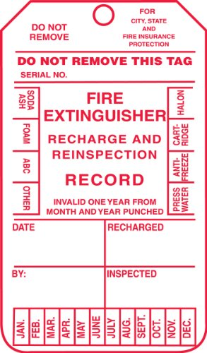Accuform Signs MGT210CTP Fire Extinguisher Tag, Legend