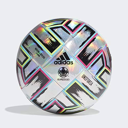 adidas Men's UNIFO TRN Soccer Ball, Silver met./Signal Green/Bright Cyan/Shock pink, 4