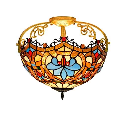 Yjmgrowing Plafonnier de Style Tiffany pour Couloir Plafonniers de 16 po en Verre teinté Éclairage d'entrée d'allée de Porche Vintage,E27,40W (42 * 37cm)