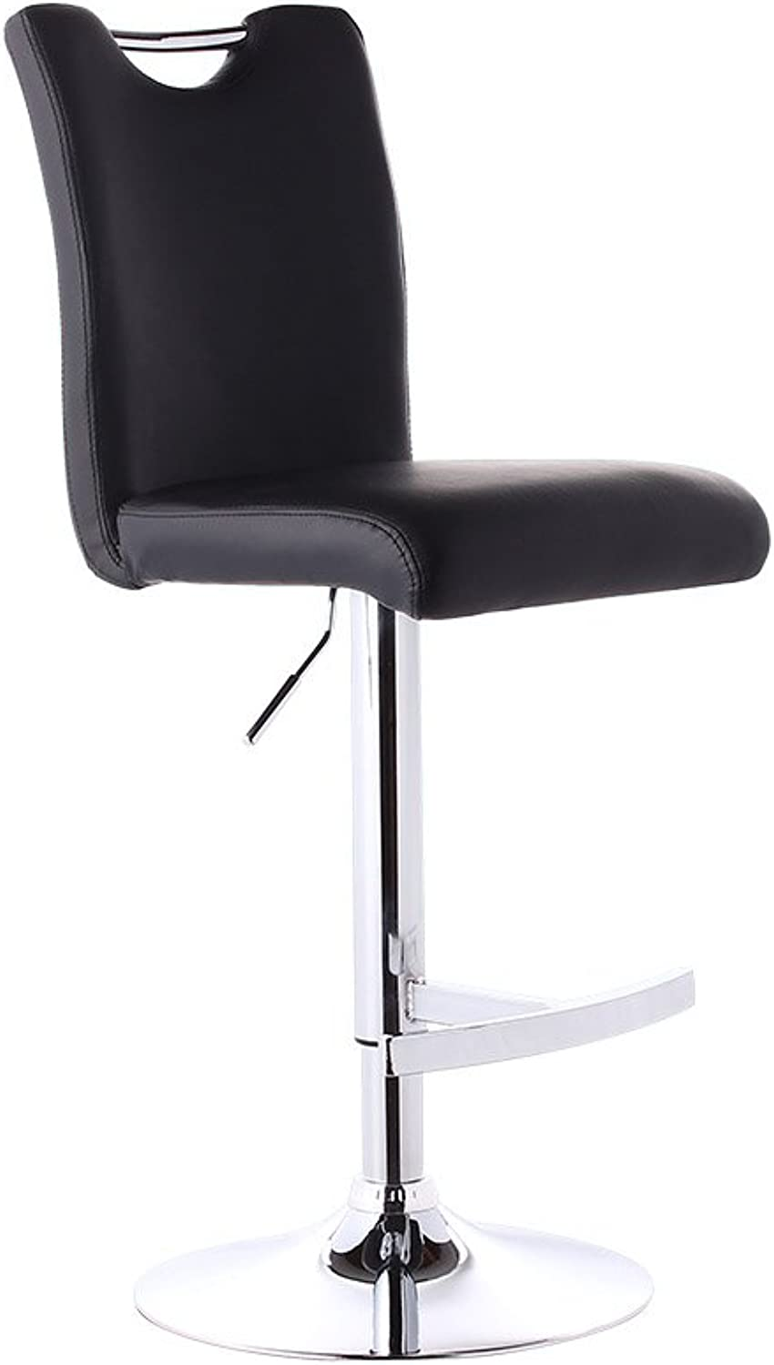 Mesurn Leisure Bar Chairs, High Stools, Can Be Raised and Lowered redation Continental Coffee Shop Bar Front Desk Chair PU Material, Seat Height 60-80cm (color   Black)