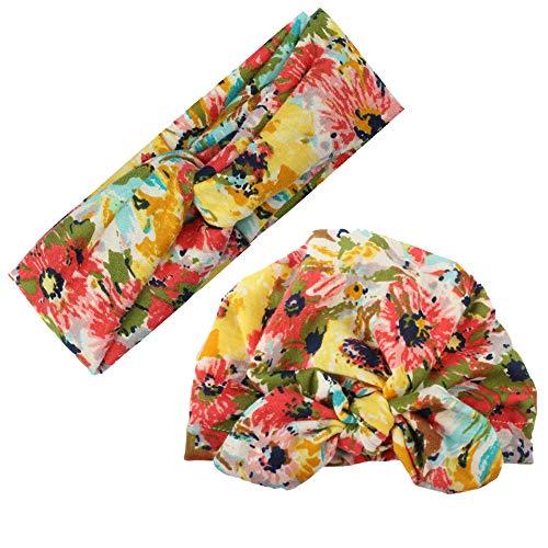Himom muts met bloemenpatroon voor baby's, meisjes, 3-18 maanden, met haarband, voor dames, 3-18 maanden