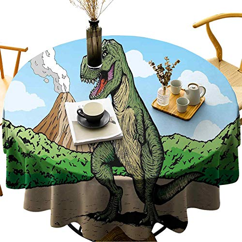 Round Tablecloth Modern Decorative Table Cloth Oil-Proof, Spill Proof Giant Lizard T Rex on Active Volcano Untouched Jungle Backdrop Diameter 65 inch Decoration for Kitchen Dining Table Cover