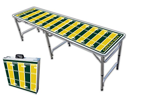 8-Foot Professional Beer Pong Table - Green Bay Football Field Graphic