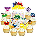 PANTIDE 49 Pack Sesame Inspired Cake & Cupcake Toppers Kit, Happy Birthday Sesame Cake Topper Cupcake Toppers Elmo Cookie Monster Big Bird Birthday Party Supplies Favors Cake Decorations for Kids