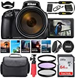 Nikon COOLPIX P1000 Digital Camera || 24-3000mm Lens || 16 MP || Built-in Wi-Fi || Vibration Reduction + Camera Kit Special Including 64GB Memory, Spider Tripod, Photo/Video Editing Package & More