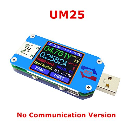 KKmoon RD UM34C USB 3.0 Type-C Couleur LCD Affichage Testeur Tension Courant M/ètre Voltm/ètre Amp/èrem/ètre Batterie Charge C/âble Imp/édance R/ésistance Mesure Communication Version