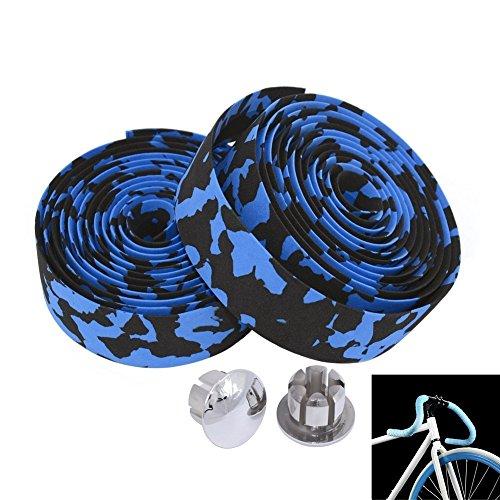 MBrisk Camouflage Series Bike Parts Correa de manija de Espuma con patrón de Esponja, Correa Antideslizante con Bicicleta de montaña con Tapones de Barra 2 PCS (Negro y Azul)