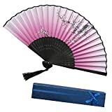 WCY Ventiladores Decorativos Papel Bambú de bambú A Ventilador Estilo Chino Plegable Fan Party Decoración de la Boda yqaae (Color : H)
