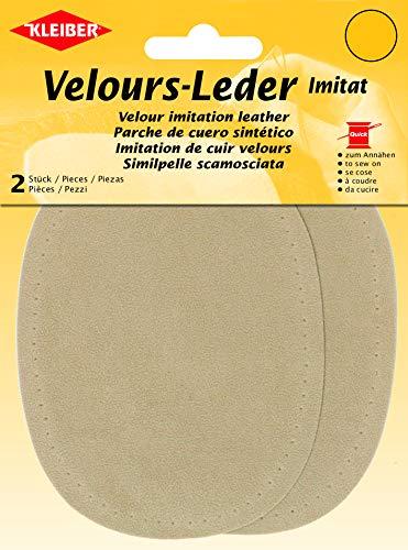 Kleiber - Rodilleras/Coderas ovaladas de Antelina, para coserlas, 12,5 x 10 cm, Color Arena