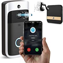 هوشمند بی سیم WiFi تلفن درب دوربین بل - اینترفیس هوشمند هوشمند حلقه Doorbell - آشکارساز حرکت، دید در شب - شامل Ding دونگ بی سیم Doorbell Chime Kit - تنظیمات سیم کشی و بی سیم تنظیمات