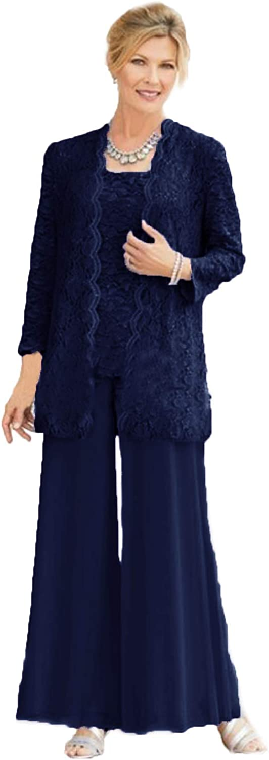 WZW 3PC Mother of The Bride Pant Suit ChiffonTrousers Outfit with Lace Top Wedding Guest Pant Sets