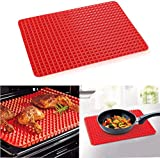 Silicone Pyramid Baking Mat Non-Stick Value 1 Pack, Reducing Healthy Cooking Heat-Resistant for Grilling BBQ 15.1 X 10.6Inch Color Red (1 Pack Red Mat)