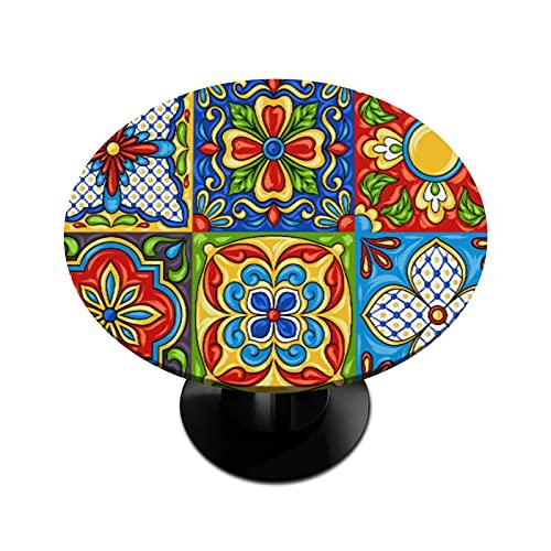 Mantel redondo con borde elástico Talavera mexicana de cerámica lavable a prueba de derrames, tela de poliéster para mesa de cocina, comedor, fiesta, boda al aire libre