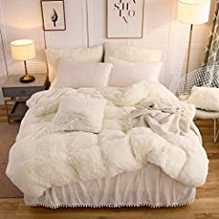 Duvet Cover: 45mm high pile microfiber soft, fine and smooth shaggy fleece reverse to ultra soft crystal velvet mink. Pillowcases: crystal velvet surface diamond quilted with 120gsm no glue microfiber filling, feel comfortable with face contact. Anti...