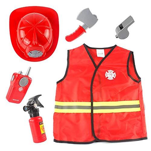 Hellery Déguisement de Pompier pour Enfants et Accessoires de Jouets de Pompier Cadeau pour Enfants