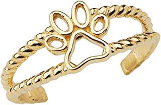 dog paw ring gold