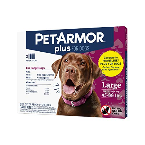 PETARMOR Plus for Dogs Flea and Tick Prevention for Dogs, Long-Lasting & Fast-Acting Topical Dog Flea Treatment, 3 Count, PetArmor Plus Flea & Tick Prevention for Large Dogs with Fipronil (45 to 88 Pounds), 3 Monthly Treatments