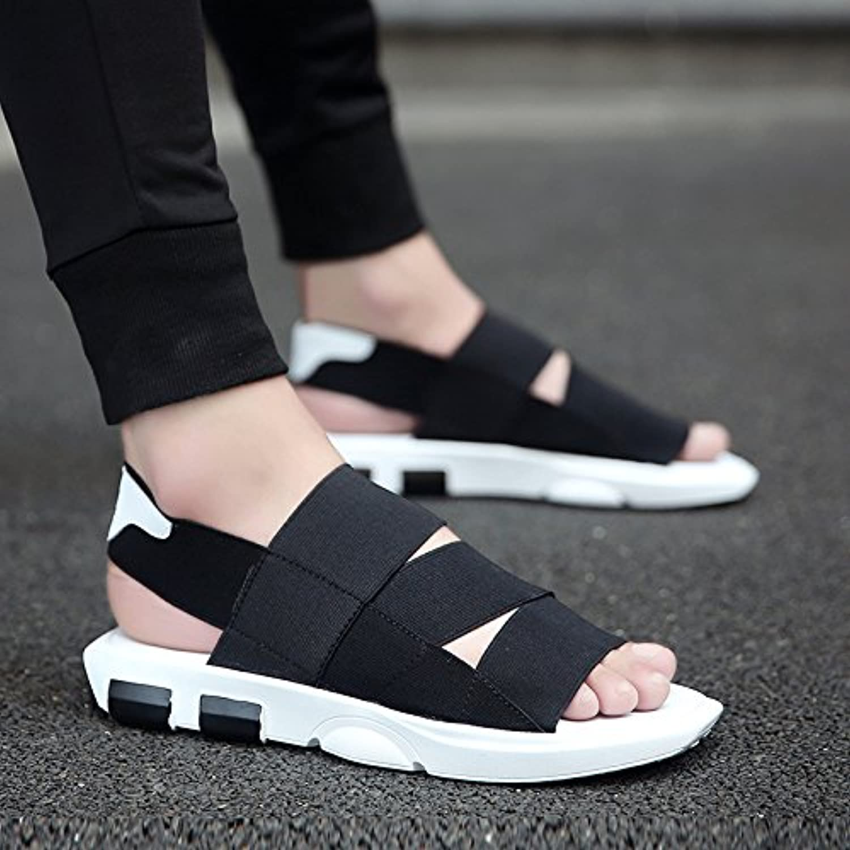 RUGAI-UE Men's sandals Summer sandals non-slip summer beach shoes flat slippers