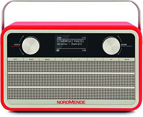 Nordmende Transita 120 IR tragbares Internetradio (DAB+ Radio, UKW, WLAN, 24 Stunden Akku, Wecker, Sleeptimer, Kopfhöreranschluss, 5 Watt Mono-Lautsprecher) rot
