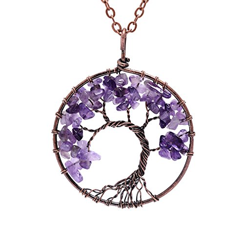 JJS Especialmente disponible Tree of Life Pendant Amethyst Rose Crystal Collar Gemstone Chakra Jewelry