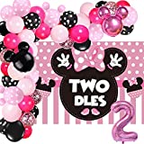 Oh Twodles Minnie Twodles Birthday Party Supplies Decorations Mouse Backdrop Balloon Garland Minnie Party for Girls Baby Bday