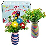 KOKO AROMA Flower Craft Kit for Children, Boy & Girl, DIY Project with Sand Art Includes 2 Vases, 8 Colored Sand, 2 Set of Flowers, Fun Projects Maker for Kids