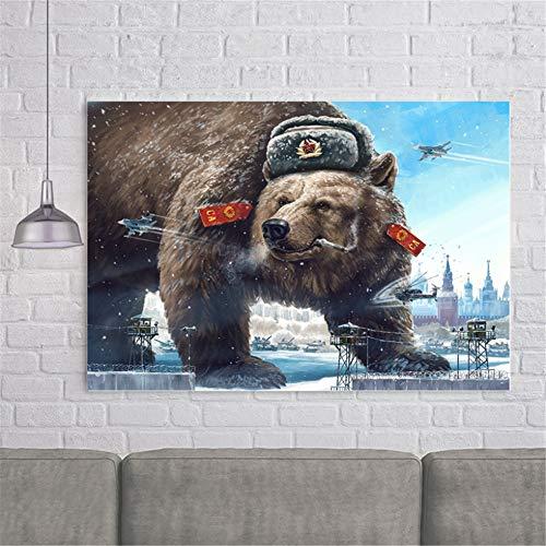 Rjjwai Groteske Karikatur Charakter Poster Formidable Bär Drucke Russland Und Die Udssr Bild Bild Leinwand Malerei Wandkunst Dekor Schlafzimmer 60x90cm
