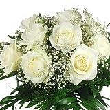 Großer Blumenstrauß mit 10 großblütigen weißen Rosen, Schleierkraut und Schnittgrün inklusive gratis Grußkarte