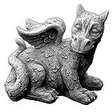 gartendekoparadies.de Lustiger antiker Drache Fantasiefigur aus Steinguss frostfest