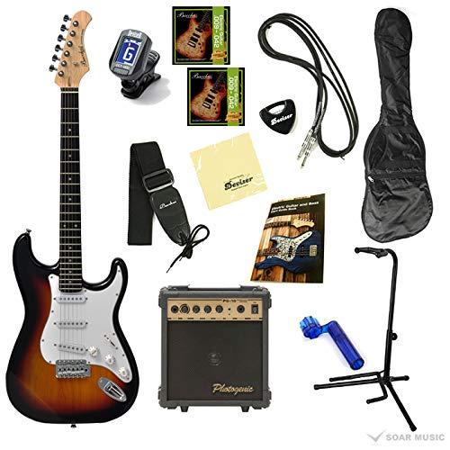 【初期調整済みですぐ弾ける!】 Bacchus バッカス BST-1 オリジナルエレキギターセット (3TS)