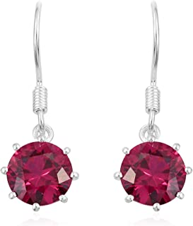 925 Sterling Silver Round Lab Created Ruby Dangle Drop Earrings Cttw 2.5