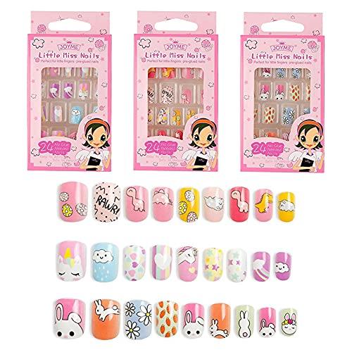 foreverLily Kids Uñas postizas Uñas postizas cortas Los niños presionan las uñas postizas Set de uñas artificiales para niños Puntas de uñas artificiales para niñas y mujeres