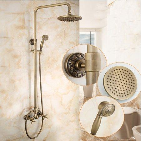 GOWE Antique Brass Dual Cross Handles Antique Brass Bathroom Rain Shower Head Hot Cold Valve Mixer Tap