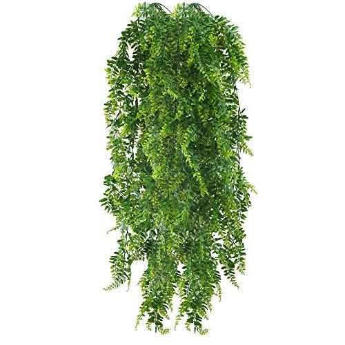 HUAESIN 2pcs Plantas Helechos Artificiales Colgantes 115cm Enredaderas Plastico Guirnalda Hojas Verde Planta Artificial Colgante para Exterior Interior Pared Baño Salon Navidad Balcon Maceta Patio