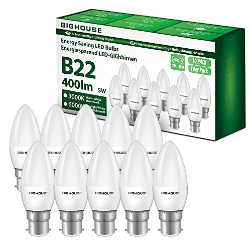 B22 LED Bulbs, BIGHOUSE 5W 400Lumen LED Candle Light Bayonet Bulb, 40W Halogen Bulb Equivalent, Warm White 3000K B22 Bayonet Energy Saving Light Bulb, Non-Dimmable (10 Pack)