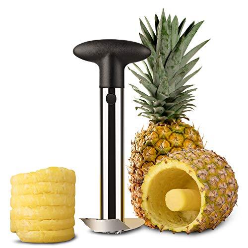 Flexzion Couteau Coupe-ananas avec économe yeux en acier inoxydable Découpe-ananas outil trancheur spirales avec poignée ergonomique pour fruits tranchés anneaux idéal pour cuisine restaurant chef