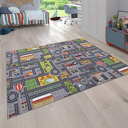 Paco Home Alfombra Infantil De Juegos Habitación Infantil Carreteras Motivo Coche Gris, tamaño:100x200 cm
