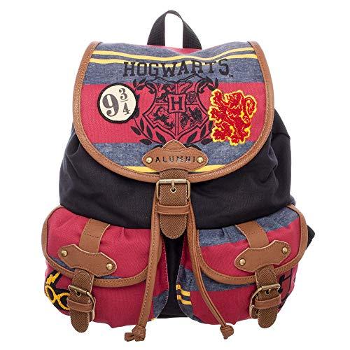 NJ SCREENPRINTS Harry Potter Rucksack Hogwarts Wappen Logo Tasche 35x33x17cm schwarz rot braun
