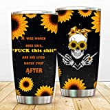 Sull Sunflower Double Walled Travel Tumbler 20 oz Coffee Mug Vacuum Insulated for Women Best Friends Wife Mom Coworker Aunt
