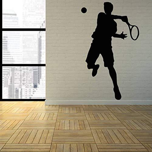 AKmene Vinilos Decorativos Tenis Raqueta Deportes Silueta Puertas y Ventanas Pegatinas de vinilo57x95cm
