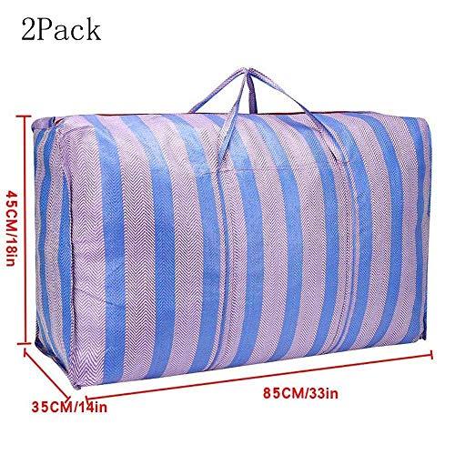 WXQY waterdichte Oxford-doek draagbare extra grote tas extra dikke geweven tas opbergtas/blauw (verpakking van 2)