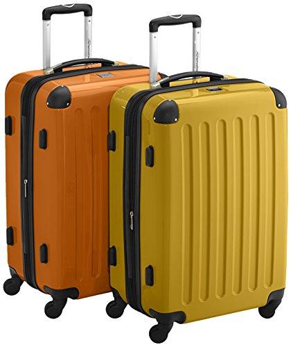 HAUPTSTADTKOFFER - Alex - 2er Koffer-Set Hartschale glänzend, TSA, 65 cm, 74 Liter, Gelb-Orange
