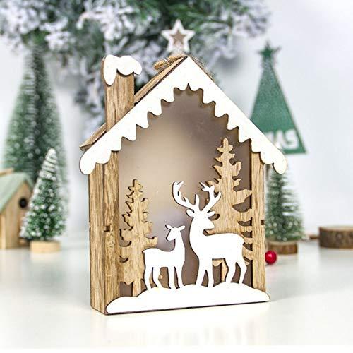 ZXXFR Weihnachten Deko Anhänger,White Elk-Versorgungsmaterialien Led Leuchten Weihnachtsverzierungen Kleines Holzhaus Anhänger Home Leuchtenden Weihnachtsschmuck Festival