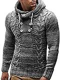 COOFANDY Men's Hoodie Sweater Slim Fit High Neck Knit Sweater Autumn Winter