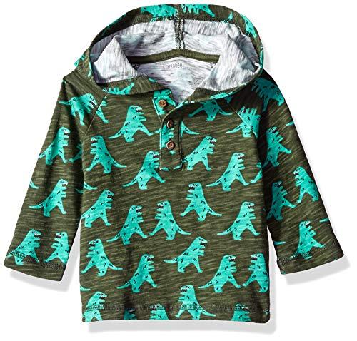 Gymboree Long Sleeve Basic tee Camiseta, Dino Graphic Verde, 6-12 Meses para Bebés