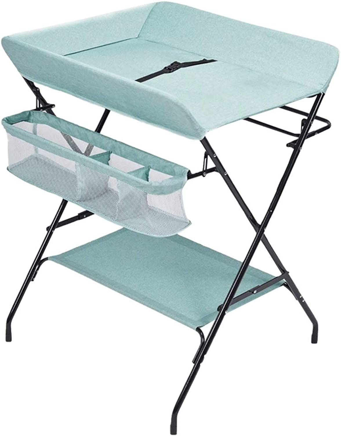 HANSHAN Changing Table Changing Table, Multifunction Baby Care Table Newborn Massage Storage Can Foldable 2 color 0-2 Years Old 31 × 26 × 37 Inch (color   Fresh Green)