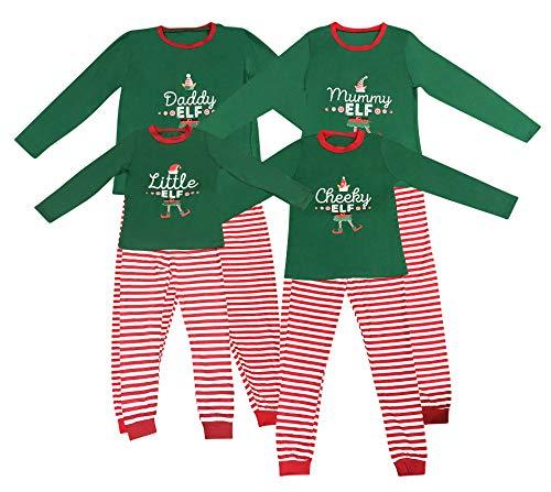 Elf Pijamas Pijama de Navidad Familia Juego el Sistema papá mamá Fresca de pequeños Duendes Hombres Mujeres Niño Niña de Navidad Traje Ropa de Dormir (5-6 años, Pequeño Elfo)