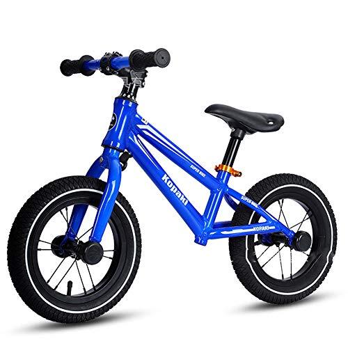 CBPE 14 Pulgadas Niños Bicicleta De Equilibrio, De Peso Ligero del Niño De La Bici del Empuje, La Bici del Bebé El Entrenamiento con Altura De Asiento Ajustable para Niños 2-6 Años,Azul