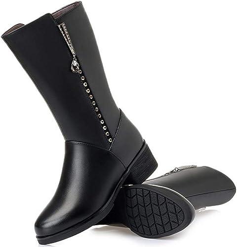 GBRALX Tallas Grandes botas Altas para mujer Bloque rojoondo del Dedo del Pie botas De Montar De Tacón Medio Sexy Cremallera Lateral Exterior Baile De Estiramiento